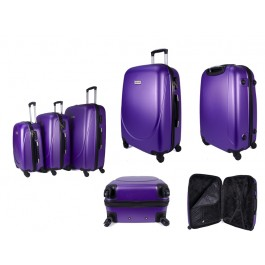 ABS-100 PURPLE SET OF 3 FOUR 360 DEGREE WHEEL LUGGAGE SET
