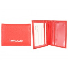 1500 RED GRAINED PU TRAVEL CARD HOLDER