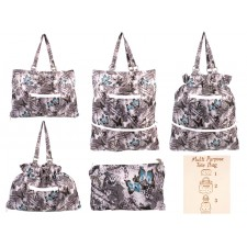 2487 GREY BUTTERFLY TOTE BAG