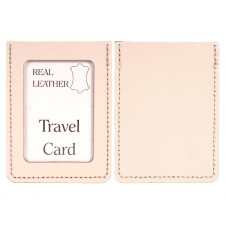 CREAM REAL LEATHER TRAVEL CARD