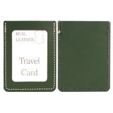 DARK GREEN REAL LEATHER TRAVEL CARD