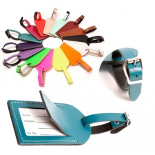 LEATHER LUGGAGE TAG TEAL