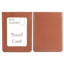 LIGHT BROWN REAL LEATHER TRAVEL CARD