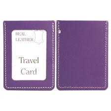 PURPLE REAL LEATHER TRAVEL CARD