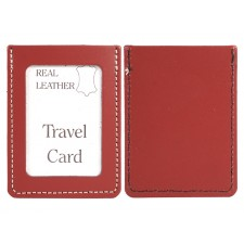 RED REAL LEATHER TRAVEL CARD