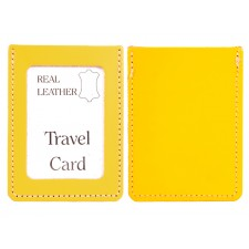 YELLOW REAL LEATHER TRAVEL CARD