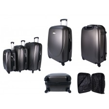 ABS-100 GREY SET OF 3 FOUR 360 DEGREE WHEEL LUGGAGE SET