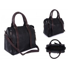 SUS3 BLACK/BROWN PU BOWLING BAG WITH ZIP DETAILING