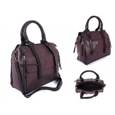 SUS3 BURGANDY/BROWN PU BOWLING BAG WITH ZIP DETAILING