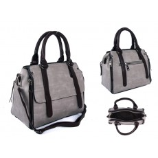 SUS3 GREY/BROWN PU BOWLING BAG WITH ZIP DETAILING